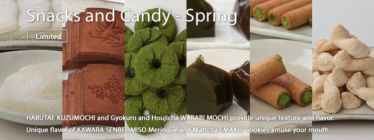 classic Japanese confection Gyokuro and Houjicha WARABI MOCHI, toasted and sweet flavor of KAWARA SENBEI and light and crispy texture and elegant mellow and smooth flavor of MISO Meringue, MATCHA EMAKI and Cookies