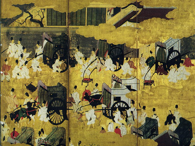 The story of AOI tells the tale of a quarrel between Aoi and Rokujo no Miyasudokoro at a festival in which Hikaru Genji took part. The festival was open to the public, and every women in the palace took a carriage to see Hikaru Genji.
