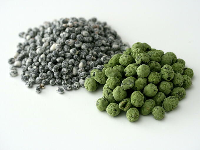 <b>MATCHA KURO</b>: Tea ceremony grade Matcha is used to coat these black soybeans.<br> <b>KO KURO</b>: KO of this name means small in Japanese, and KURO means black.