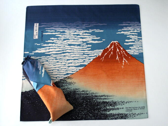 FUROSHIKI having AKA FUJI drawing pattern