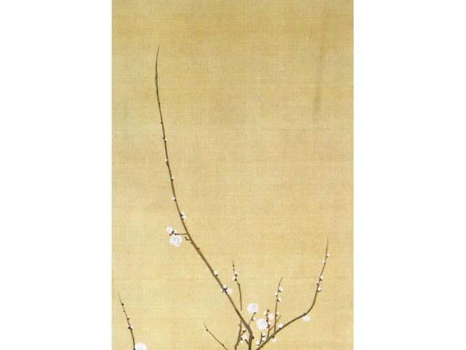 Upper part of original JUNIKAGETSU KACHOU ZU of UME TSUBAKI painting