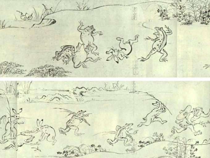Parts of original CHOHJYU JINBUTSU GIGA painting covered in four rolled draperies