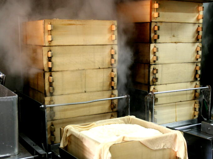 Rice is steamed in a traditional steamer called Seiro. After this, the rice is made into MOCHI rice cake.
