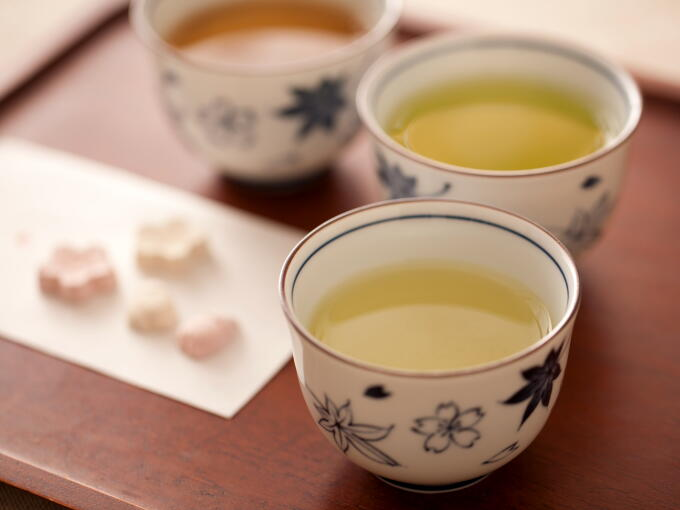 Starting from the front to back, Organic Sencha Superior, Organic Genmaicha Matcha-iri, and Organic Houjicha