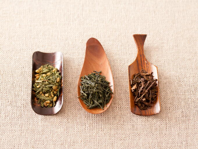 Starting from the left to right, Organic Genmaicha Matcha-iri, Organic Sencha Superior, and Organic Houjicha