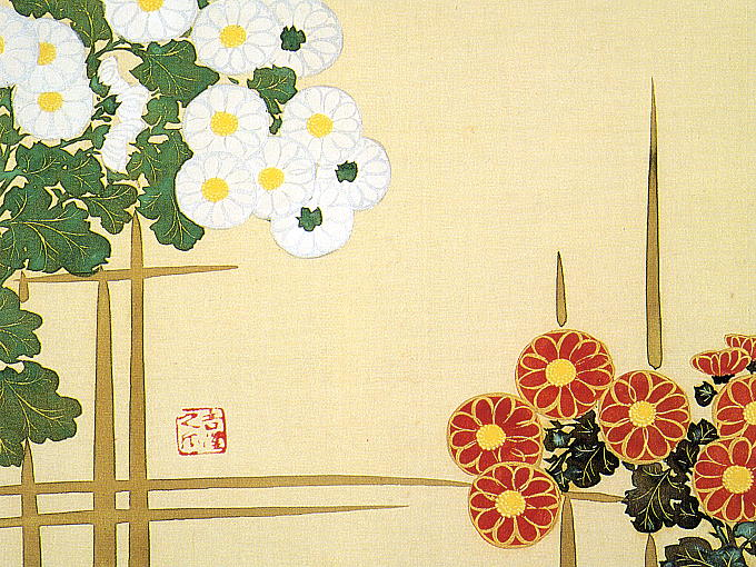 Original painting of JYUNIKAGETSU SOUKA ZU by Sekka Kamisaka. Red and white KIKU chrysanthemum flowers gracefully decorated.