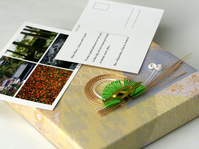 Packaged in Japanese traditional style. Each item in our Gifts category is wrapped with a beautiful Japanese ornament called MIZUHIKI. And Your gift message printed on postcard can be included for all items in our Gifts category.