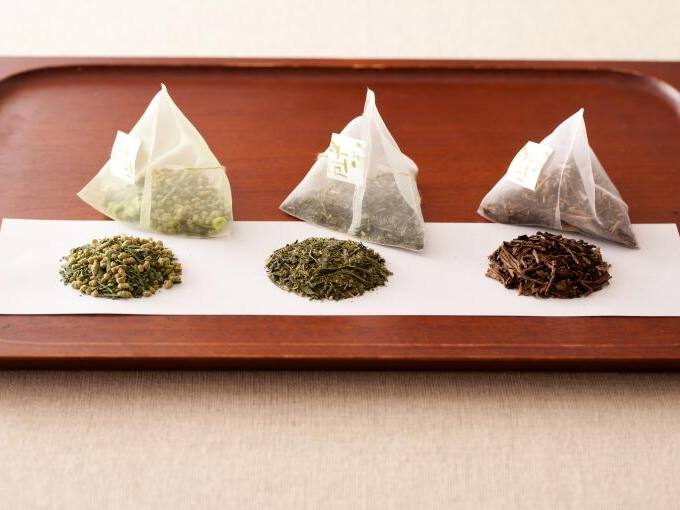 Starting from the left to right, Teabag Genmaicha Matcha-iri, Teabag Organic Sencha, and Teabag Houjicha
