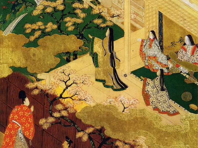 Hikaru Genji caught a glimpse of the house and found a very beautiful girl. Her name was Murasaki no Ue. Hikaru Genji was fascinated by her beauty.  Hikaru Genji had a faithful encounter with Murasaki no Ue.