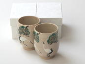 [Limited] TSURU SHOHCHIKU - pair (handcrafted Teacup)